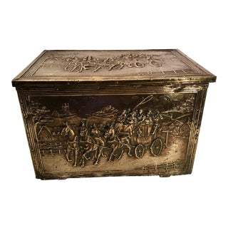 Antique Brass Encased Kindling Box For Sale