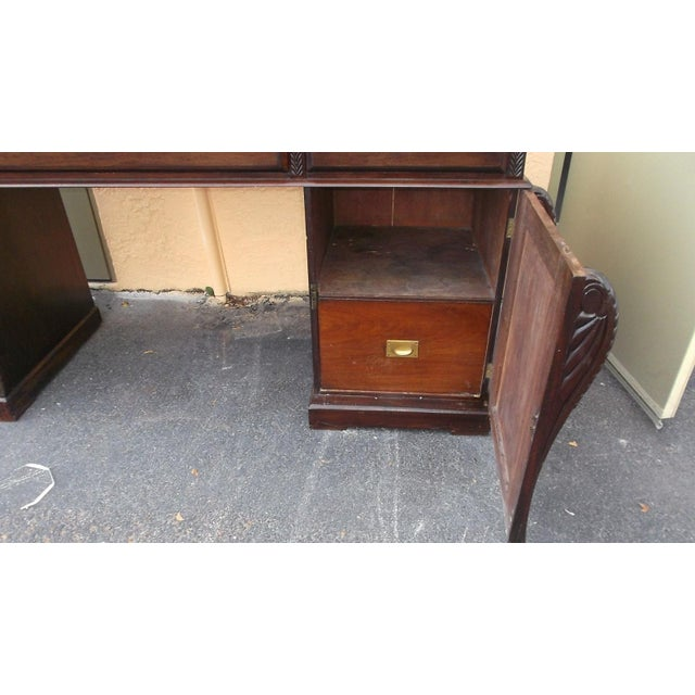 Antique English Mahogany 2 Pedestal Regency Style Server For Sale In West Palm - Image 6 of 9