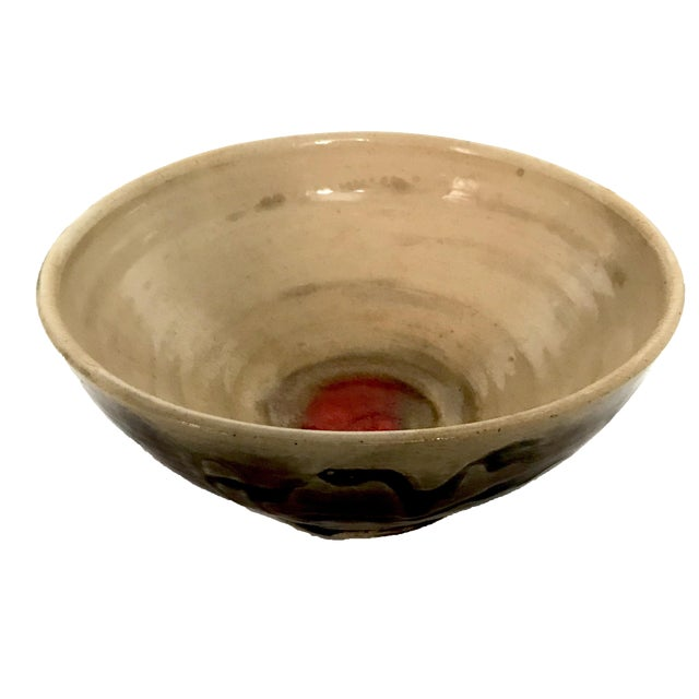 Studio Pottery Drip Glaze and Oxblood Bowl Signed For Sale