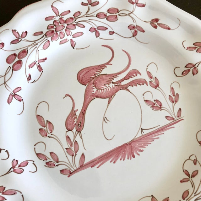 Vintage pink and white Moustiers faience decorative plate. Seller also has a blue and white trinket dish in the same...