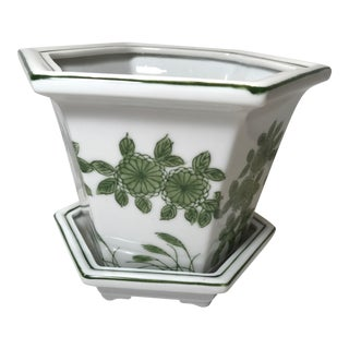 1980s Chinoiserie Green and White Hexagon Cachepot