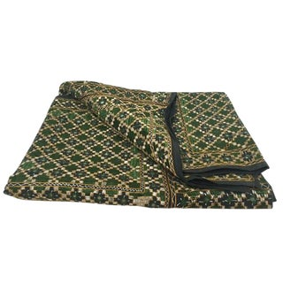 Vintage India Banjara Embroidered Mirrored Throw Blanket For Sale