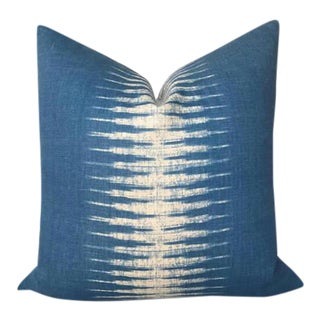 Indigo Blue Ikat Pillow Cover For Sale
