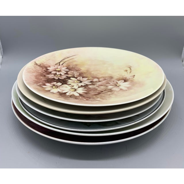 1940s Hand Painted Floral Decorative Wedding Plates - Set of 7 For Sale - Image 10 of 13