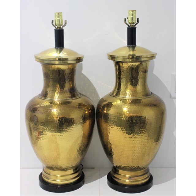 Mid-Century Table Lamps Made From Artisan Hammered Brass Vases - a Pair For Sale - Image 13 of 13