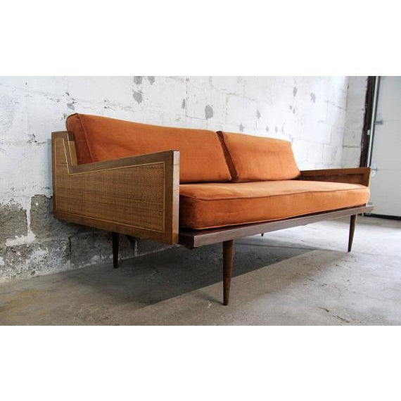 mid century modern danish modern walnut cane daybed sofa for sale image 4 - Daybed Sofa