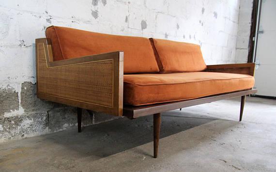 Elegant Mid Century Modern Danish Modern Walnut U0026 Cane Daybed Sofa   Image 4 ...