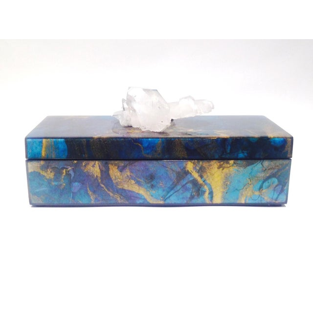 Metallic Marbleized Lacquer Box With Quartz For Sale - Image 5 of 5