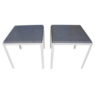 Polished Concrete and Welded Steel Night Stands, Coffee Tables, Corinne Robbins For Sale