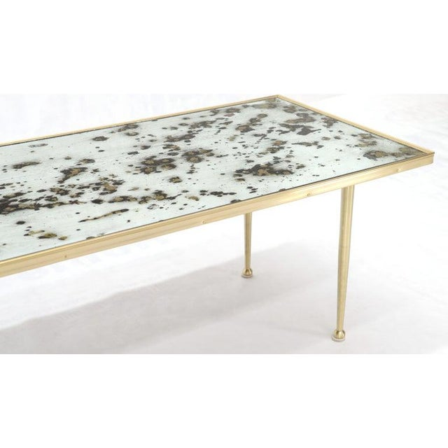 Brass Small Italian Rectangular Coffee Table on Brass Legs Mirrored Top For Sale - Image 8 of 10
