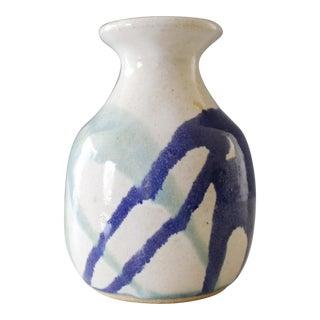 Vintage Ceramic Studio Pottery Bud Vase Blue Aqua Abstract Mid Century For Sale
