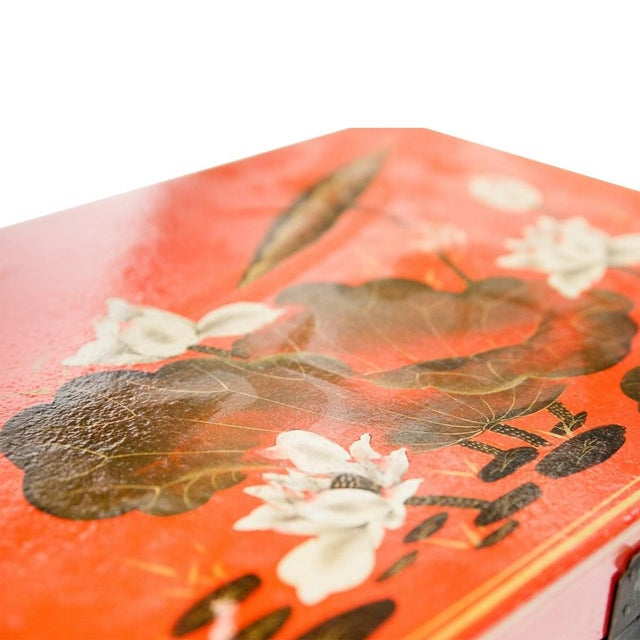 Asian Asian Modern Lawrence & Scott Hand-Painted Water Buffalo Leather Box on Hongmu Stand For Sale - Image 3 of 9