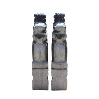 Chinese Pair Gray Stone Fengshui Foo Dogs Lions Door Block Statue Preview