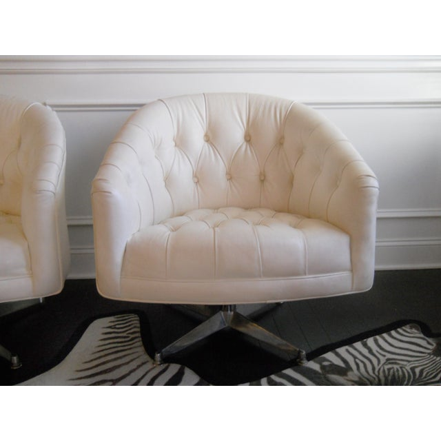 1970s Ward Bennett Tufted Swivel Chairs - Pair - Image 4 of 10