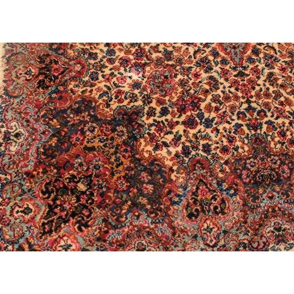 "Antique Karastan Kirman Wool Rug - 5′8″ x 9′7"" - Image 4 of 5"