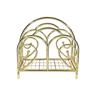 Gilt Metal Magazine Rack For Sale