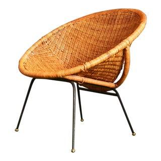 1950s Vintage Calif-Asia Wicker Hoop Chair For Sale