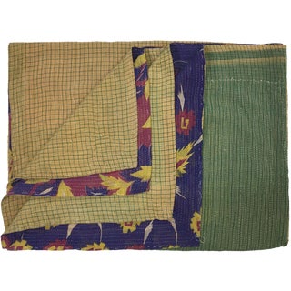Purple and Gold Vintage Kantha Quilt For Sale