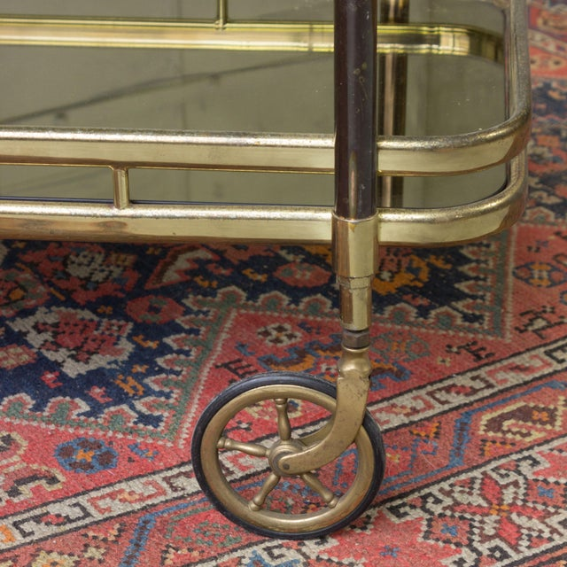 Brass Bar Cart With Glass Shelves - Image 2 of 11
