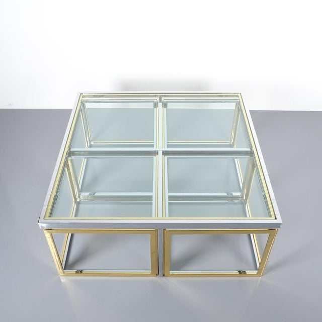 Square Segment Bicolor Brass Glass Coffee Table by Maison Charles, France 1975. Vintage square brass coffee table with...