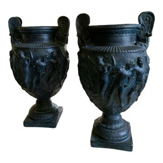 Vintage Plaster Greek Amphore Urns - a Pair For Sale