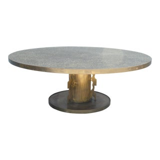 1960s Philip and Kelvin LaVerne Etruscan Round Coffee Table For Sale
