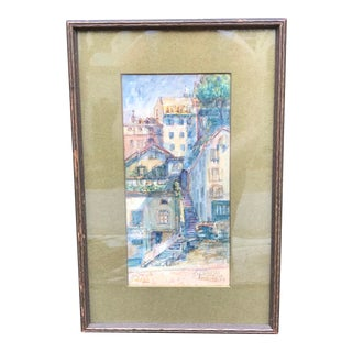 Early 20th Century Original Framed Watercolor Painting of Lausanne, Switzerland For Sale