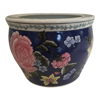 Vintage Chinese Floral Motif Cachepot For Sale