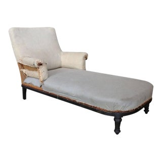 French 19th Century Chaise Longue With Exposed Wooden Frame For Sale