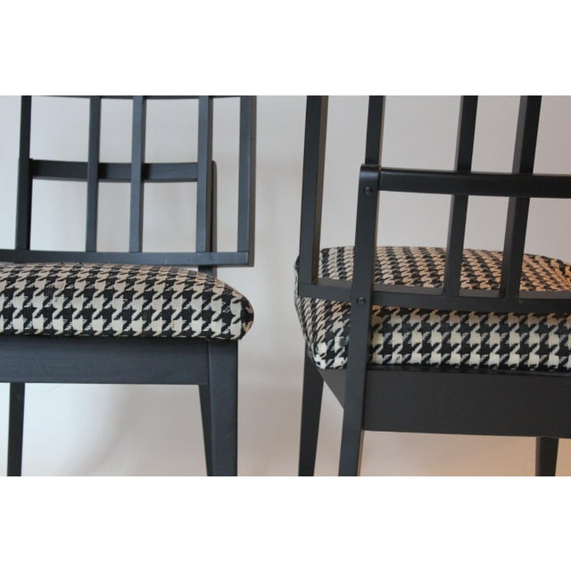 Mid-Century Modern Griddled Back Black Wooden Side Chairs - Set of 4 For Sale - Image 4 of 6