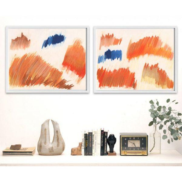 This series of abstract prints is made from layered action drawings in complex shades of blues, oranges, ochres, salmon-...