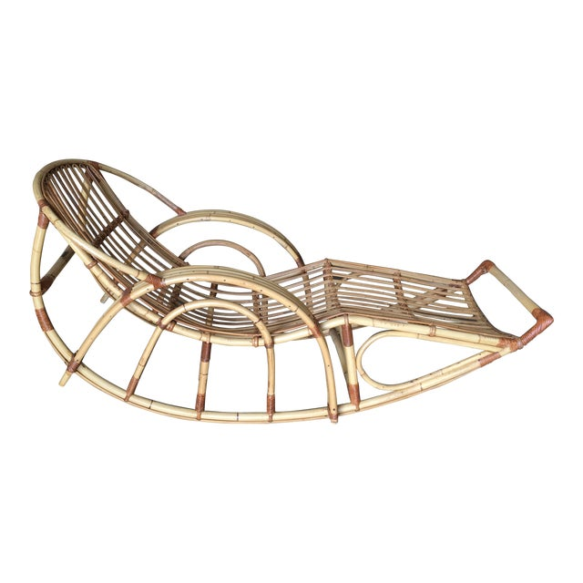 "Restored Franco Albini Style ""Day Dreaming"" Rattan Rocking Lounge Chair For Sale"