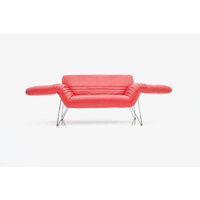 Mid-Century Modern De Sede Leather Sofa Ds 142 by Wilfried Totzek in Red Swiss 1988 For Sale - Image 3 of 11