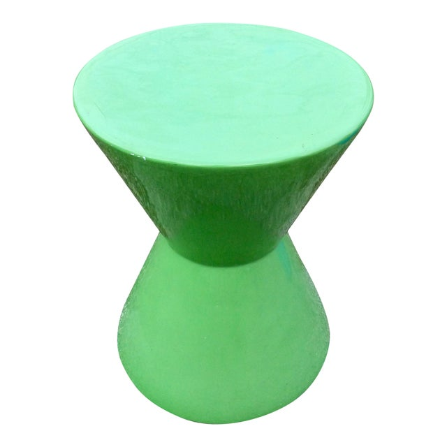 Mid Century Green Molded Fiberglass Modernist Corseted Side Table For Sale