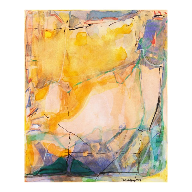 'Abstract in Rose and Saffron' by Donald Sanders, 1994; Texas Artist For Sale