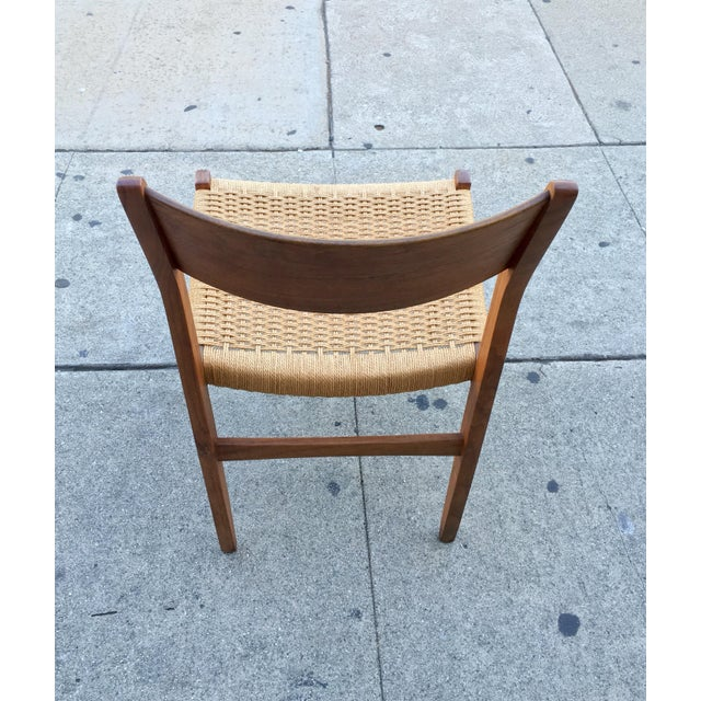 Danish Modern Teak and Rope Chairs - Set of 4 - Image 8 of 9
