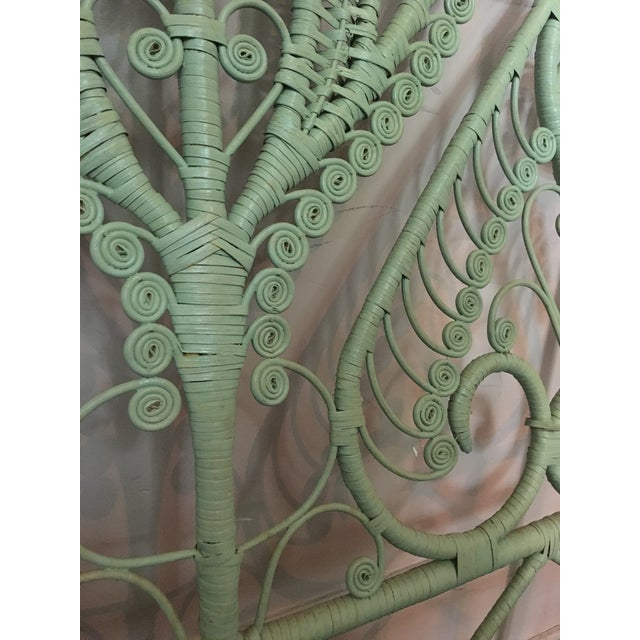 Mid-Century Modern 1960s Mid-Century Green Rattan Peacock Twin Headboard For Sale - Image 3 of 7