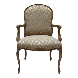 C.1980s French Louis XV-Style Fauteuil Arm Chair in Pierre Frey Textile For Sale