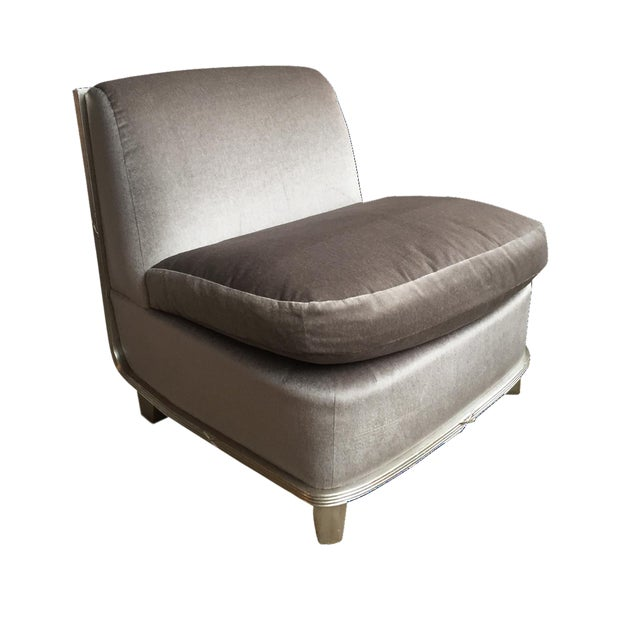 1960s Silver Mohair Lounge Chair in the Style of James Mont For Sale