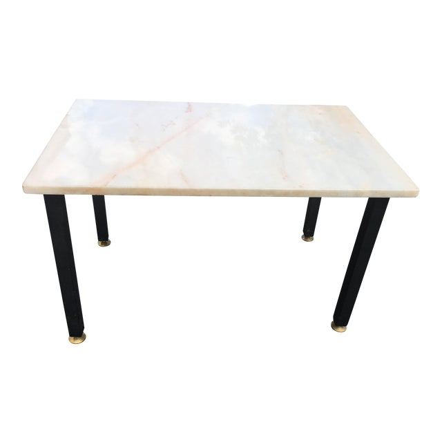 Mid-Century Vintage Marble and Wrought Iron End Table For Sale