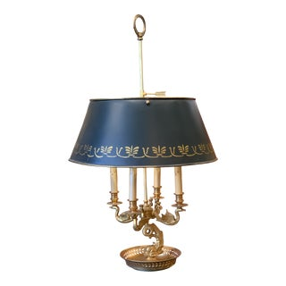 Large French Empire Style Gilt Bouillotte Table Lamp With Swans and Dolphins For Sale