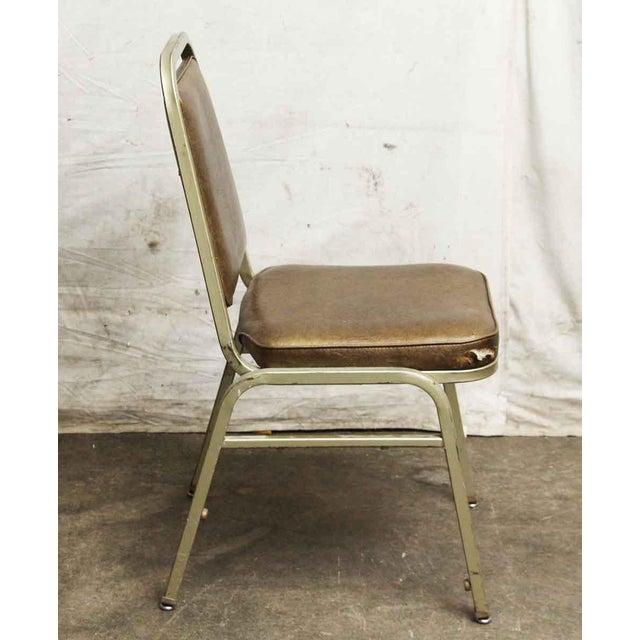 Salvaged Metal Vinyl Auditorium Office Chair - Image 4 of 10