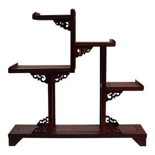 Reddish Brown Wood Tower Shape Small Table Top Curio Display Easel Stand