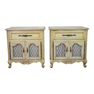 19th Century Louis XV Hickory Manufacturing Company Off White Nightstands - a Pair For Sale