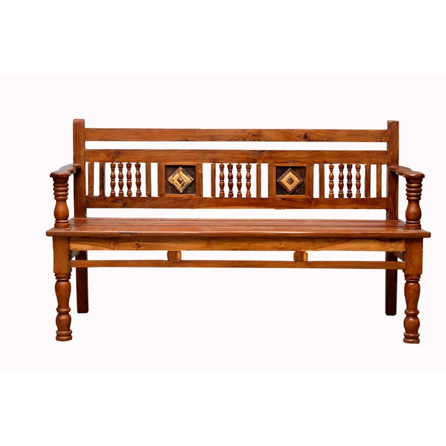 British Colonial Carved Teak Bench - Image 2 of 4
