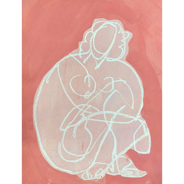 Abstract Figurative Drawing Ali in Pink II 12x16 For Sale - Image 3 of 3
