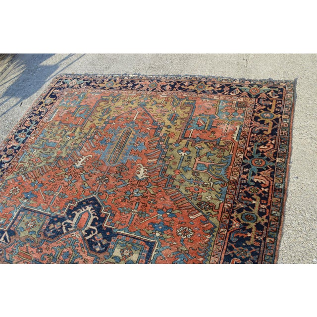 "Antique Persian Heriz Rug - 6'10"" X 9'11"" - Image 5 of 6"