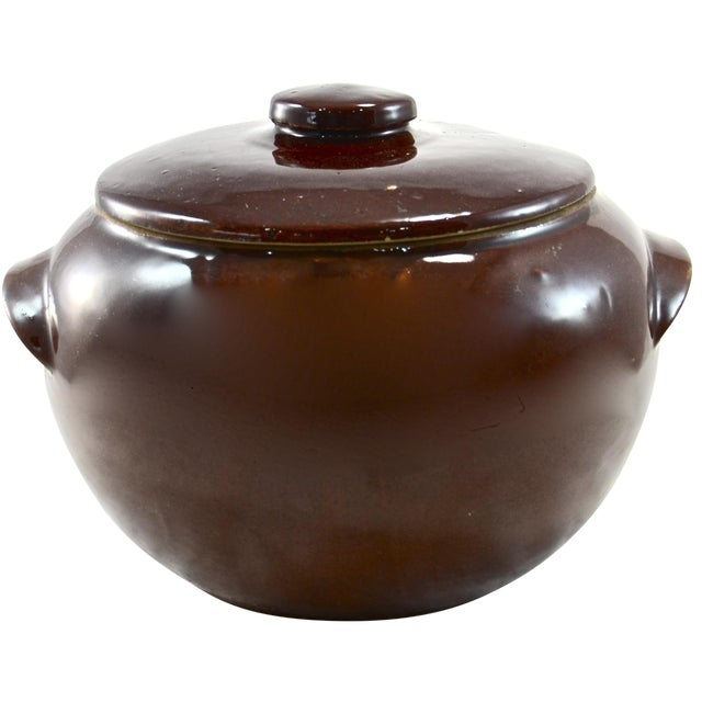 Rustic Farmhouse Stoneware Lidded Bowl For Sale