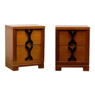 Beautiful Frankl Style End Tables/Night Stands in Ribbon Mahogany For Sale