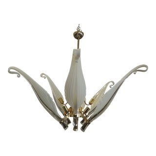 Seguso White Glass Chandelier